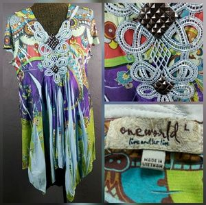 One World blouse top multicolored Size L